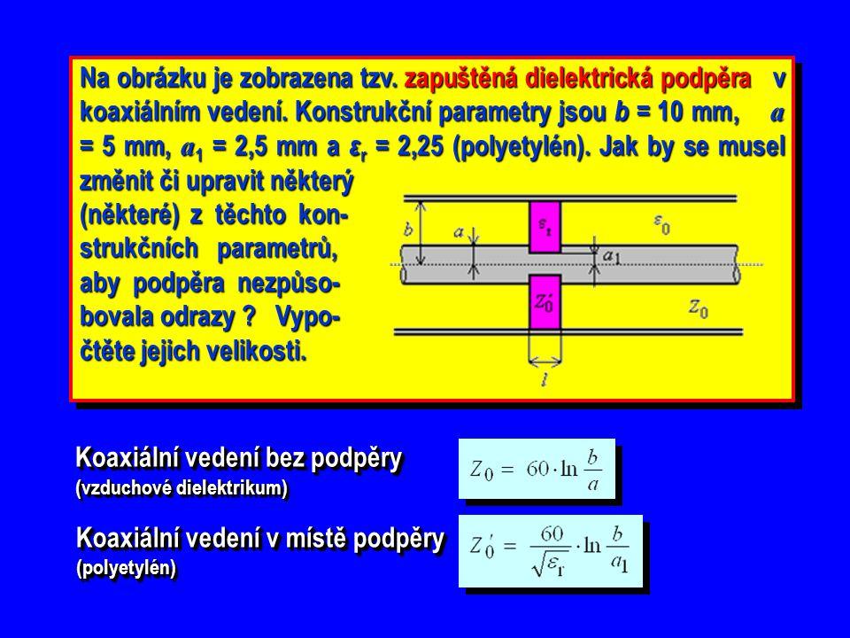 Na obrázku je zobrazena tzv. zapuštěná dielektrická podpěra v koaxiálním vedení. Konstrukční parametry jsou b = 10 mm, a = 5 mm, a 1 = 2,5 mm a ε r =