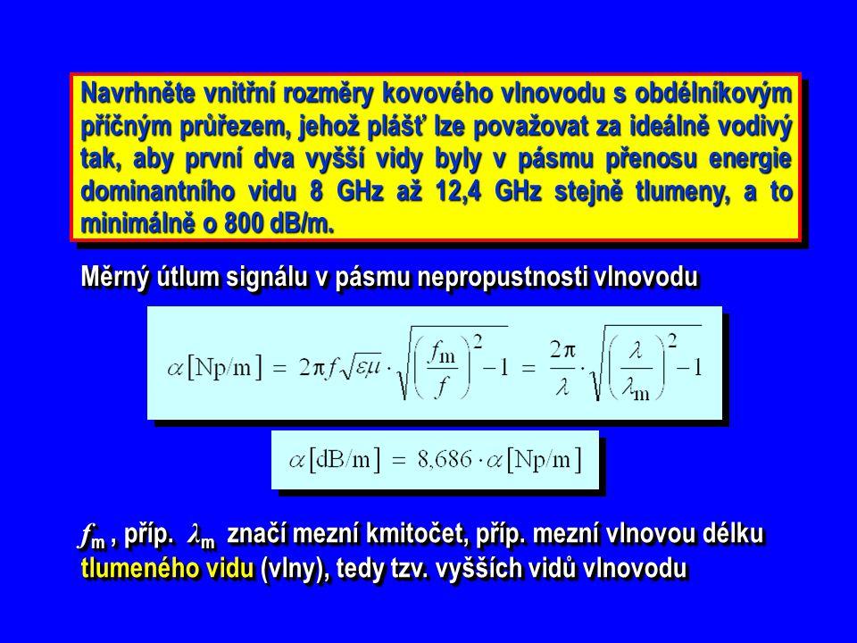 Nejbližší vyšší vid TE 20  λ m TE20 = a, Druhý vyšší vid TE 01  λ m TE01 = 2 b, f m TE20 = c/ λ m TE20 f m TE01 = c/ λ m TE01 a = 2 b Nejmenší útlum nastává na nejvyšším zadaném kmitočtu pásma dominantního vidu, tj.