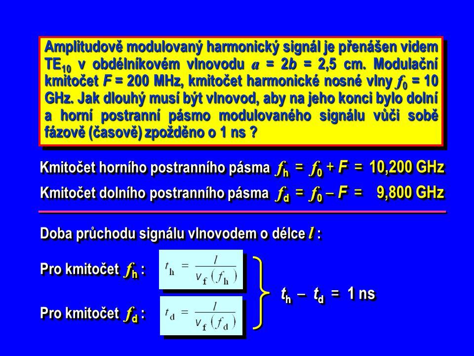 Amplitudově modulovaný harmonický signál je přenášen videm TE 10 v obdélníkovém vlnovodu a = 2 b = 2,5 cm. Modulační kmitočet F = 200 MHz, kmitočet ha
