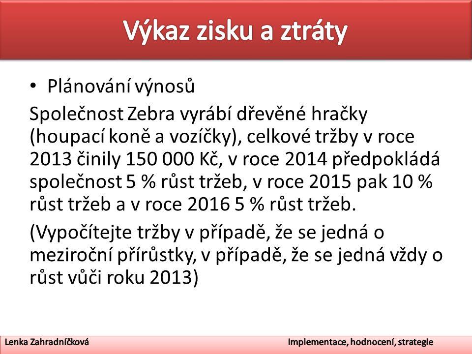 Plánování výnosů Společnost Zebra vyrábí dřevěné hračky (houpací koně a vozíčky), celkové tržby v roce 2013 činily 150 000 Kč, v roce 2014 předpokládá společnost 5 % růst tržeb, v roce 2015 pak 10 % růst tržeb a v roce 2016 5 % růst tržeb.