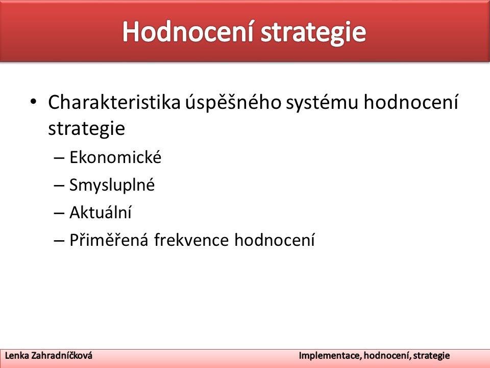 Charakteristika úspěšného systému hodnocení strategie – Ekonomické – Smysluplné – Aktuální – Přiměřená frekvence hodnocení