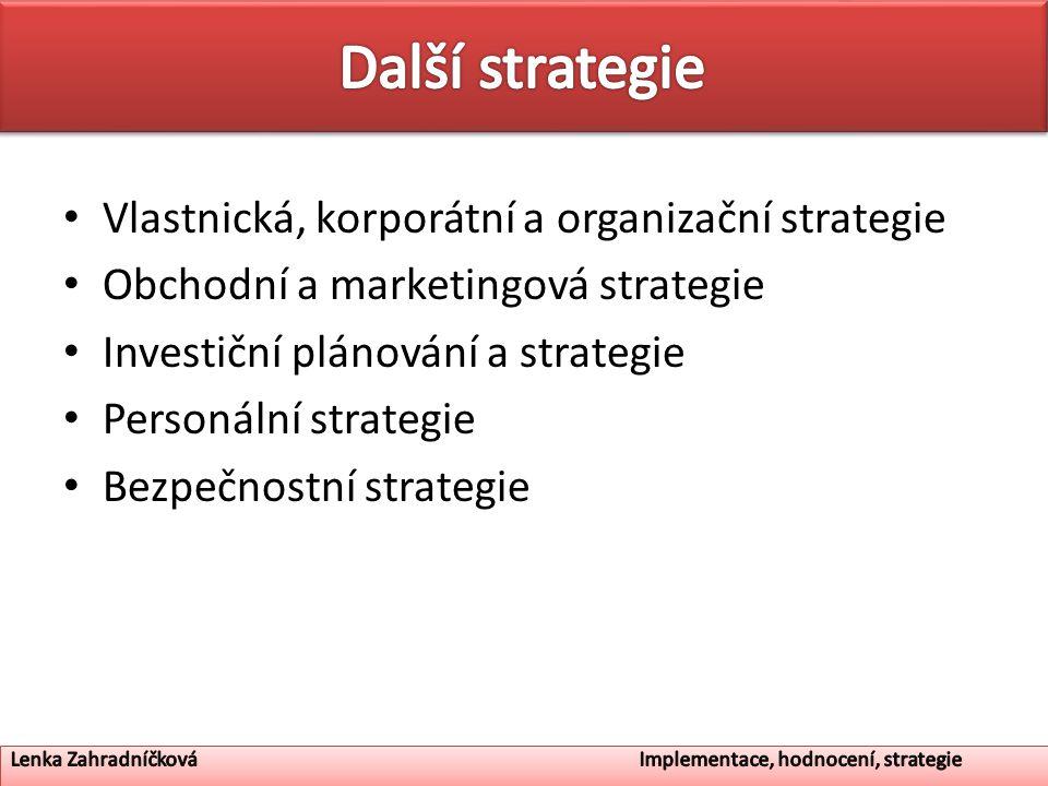 Vlastnická, korporátní a organizační strategie Obchodní a marketingová strategie Investiční plánování a strategie Personální strategie Bezpečnostní strategie