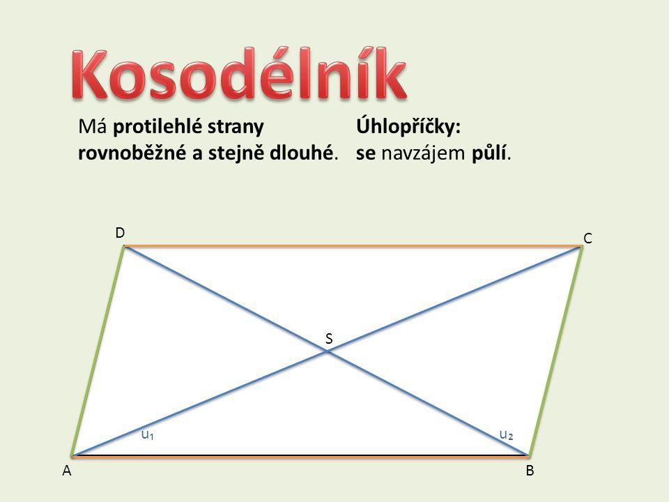 V kosočtverci a kosodélníku jsou dvojice protějších úhlů shodné. Kosočtverec a kosodélník nazýváme