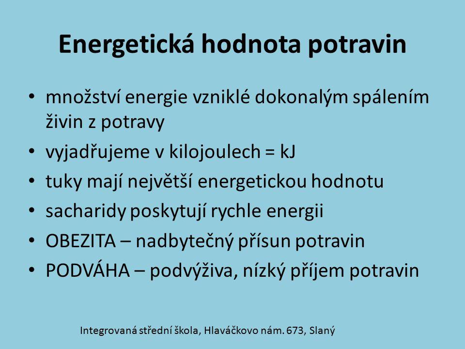 Množství energie z živin 1 g sacharidů = 17,2 kJ1 g bílkovin = 17,2 kJ 1 g tuků = 38,9 kJ Integrovaná střední škola, Hlaváčkovo nám.