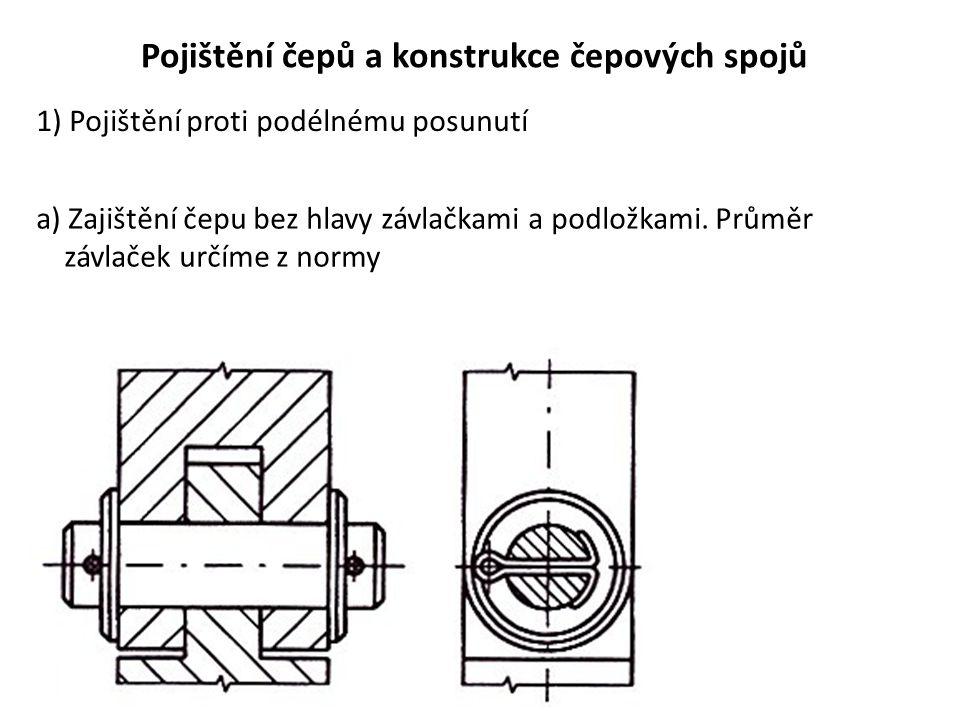 Pojištění čepů a konstrukce čepových spojů 1) Pojištění proti podélnému posunutí a) Zajištění čepu bez hlavy závlačkami a podložkami.