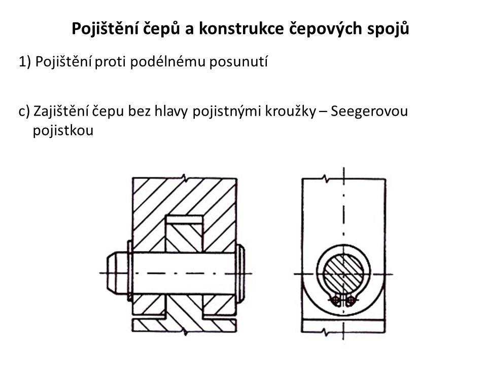 Pojištění čepů a konstrukce čepových spojů 1) Pojištění proti podélnému posunutí c) Zajištění čepu bez hlavy pojistnými kroužky – Seegerovou pojistkou