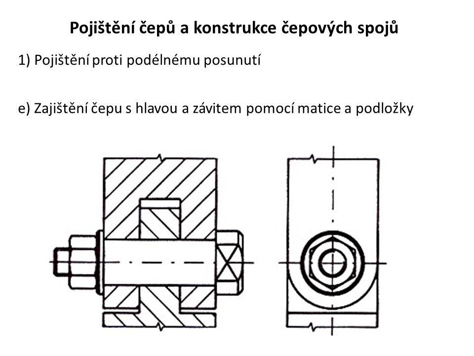 Pojištění čepů a konstrukce čepových spojů 1) Pojištění proti podélnému posunutí e) Zajištění čepu s hlavou a závitem pomocí matice a podložky