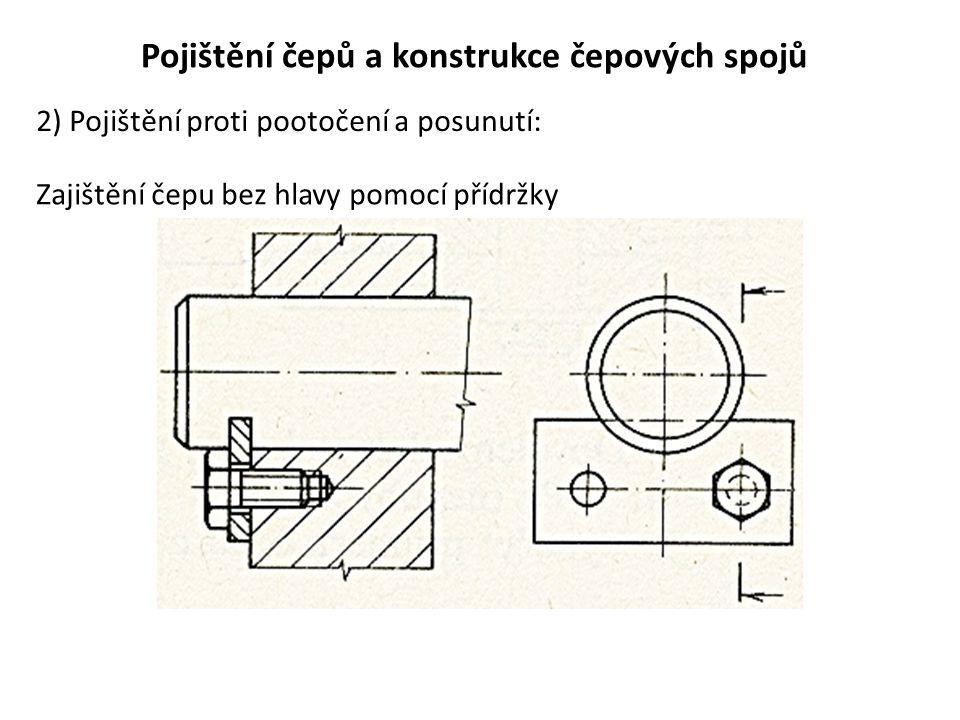 Pojištění čepů a konstrukce čepových spojů 2) Pojištění proti pootočení a posunutí: Zajištění čepu bez hlavy pomocí přídržky