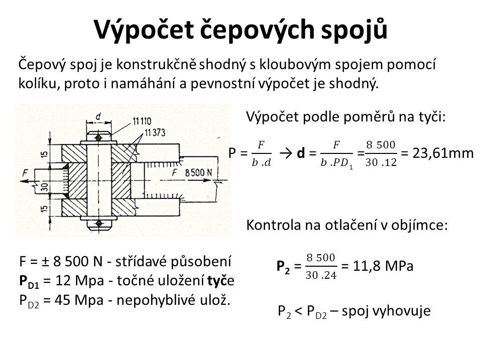 Výpočet čepových spojů Čepový spoj je konstrukčně shodný s kloubovým spojem pomocí kolíku, proto i namáhání a pevnostní výpočet je shodný.