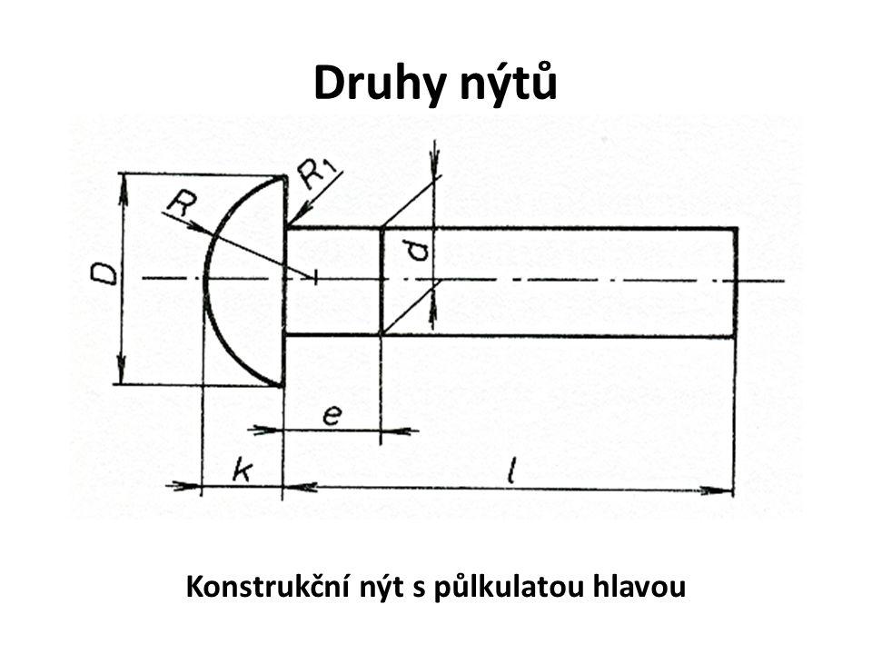 Druhy nýtů Konstrukční nýt s půlkulatou hlavou