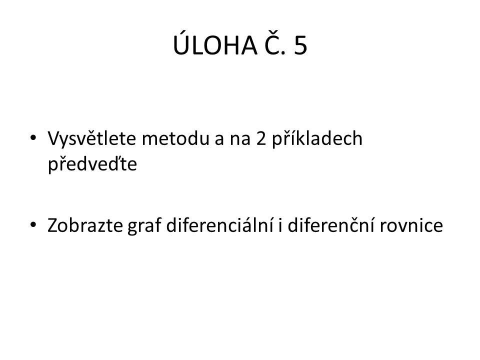 ÚLOHA Č. 5 Vysvětlete metodu a na 2 příkladech předveďte Zobrazte graf diferenciální i diferenční rovnice