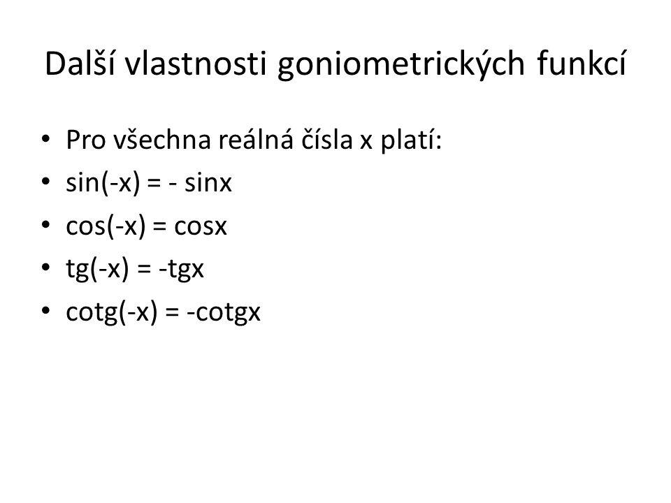 Další vlastnosti goniometrických funkcí Pro všechna reálná čísla x platí: sin(-x) = - sinx cos(-x) = cosx tg(-x) = -tgx cotg(-x) = -cotgx