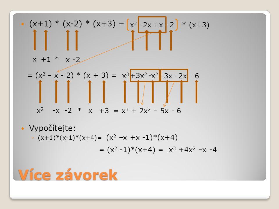 Příklady (x+1)*(x-3)= (x-2)*(x+4)= (x-1)*(x 2 +x-1)= (x+3)*(x-3)= 2*(x 2 -3x+2)= (x+3)*(2x-1)= (8x-4)*(x+1)= (x+1)*(x 2 +x-3)= (y+2)*(x+2)= (y+x+1)*(x-1)= x 2 -3x +x -3 = x 2 -2x -3 x 2 +4x -2x -8 = x 2 +2x -8 x 3 +x 2 –x –x 2 –x +1 = x 3 -2x +1 x 2 -3x +3x -9 = x 2 -9 = 2x 2 -6x +4 2x 2 –x +6x -3 = 2x 2 +5x -3 8x 2 +8x -4x -4 = 8x 2 +4x -4 x 3 +x 2 -3x +x 2 +x -3 = x 3 +2x 2 -2x -3 = xy +2y +2x +4 xy –y +x 2 –x +x -1 = x 2 +xy –y -1