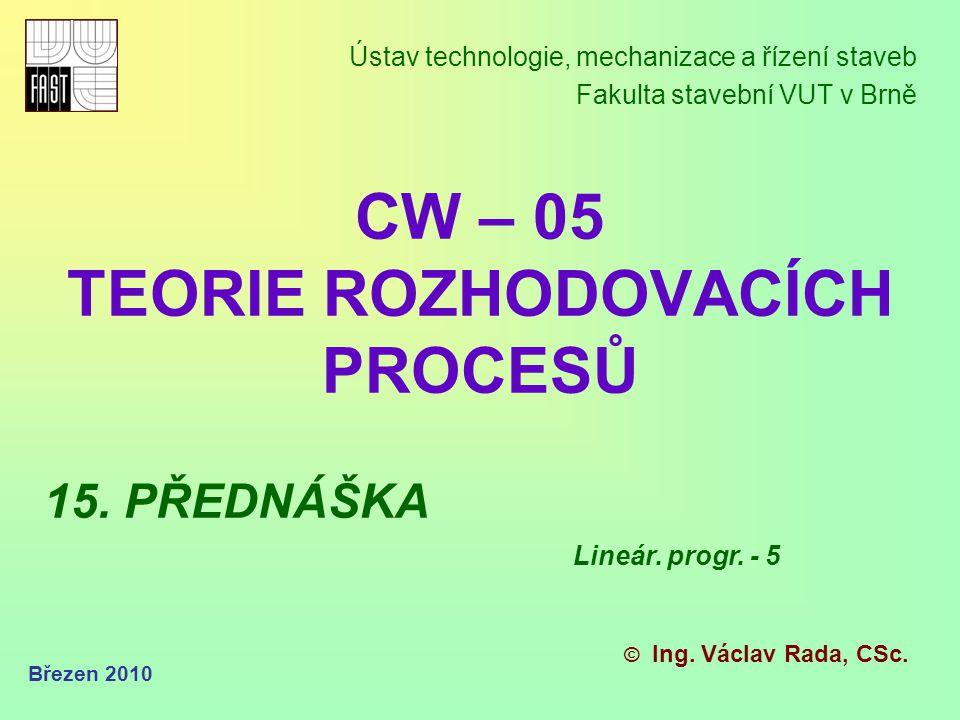 GRAFICKÁ REPREZENTACE ÚČELOVÉ FUNKCE Březen 2010 Lineární programování – grafický způsob z(x 1, x 2 ) = c 1 * x 1 + c 2 * x 2 Pro dvourozměrnou funkci má účelová funkce úlohy LP vždy tento tvar (kde z = hodnota účelové funkce) z(x 1, x 2 ) = c 1 * x 1 + c 2 * x 2 Jedná se o třírozměrnou funkci (x 1, x 2, z), která představuje rovinu ve třírozměrném prostoru.