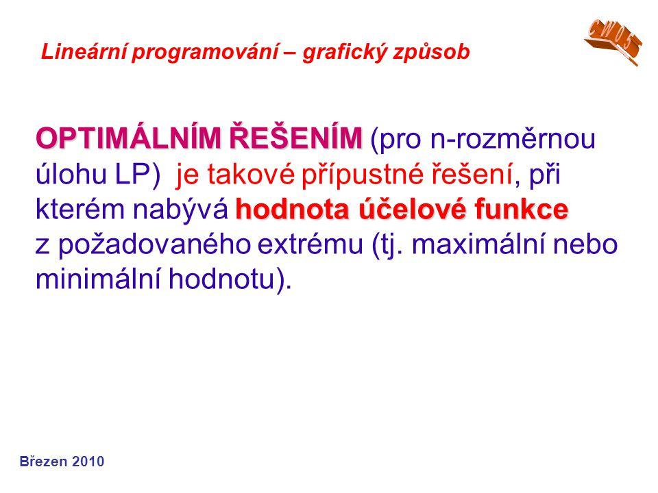 OPTIMÁLNÍM ŘEŠENÍM hodnota účelové funkce OPTIMÁLNÍM ŘEŠENÍM (pro n-rozměrnou úlohu LP) je takové přípustné řešení, při kterém nabývá hodnota účelové funkce z požadovaného extrému (tj.