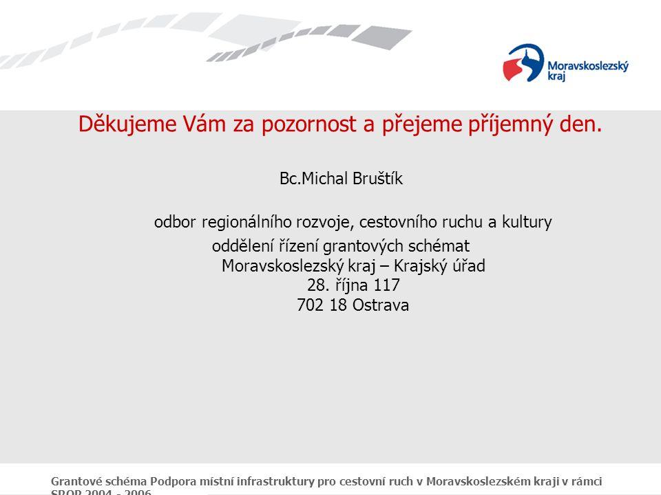Grantové schéma Podpora místní infrastruktury pro cestovní ruch v Moravskoslezském kraji v rámci SROP 2004 - 2006 Děkujeme Vám za pozornost a přejeme příjemný den.