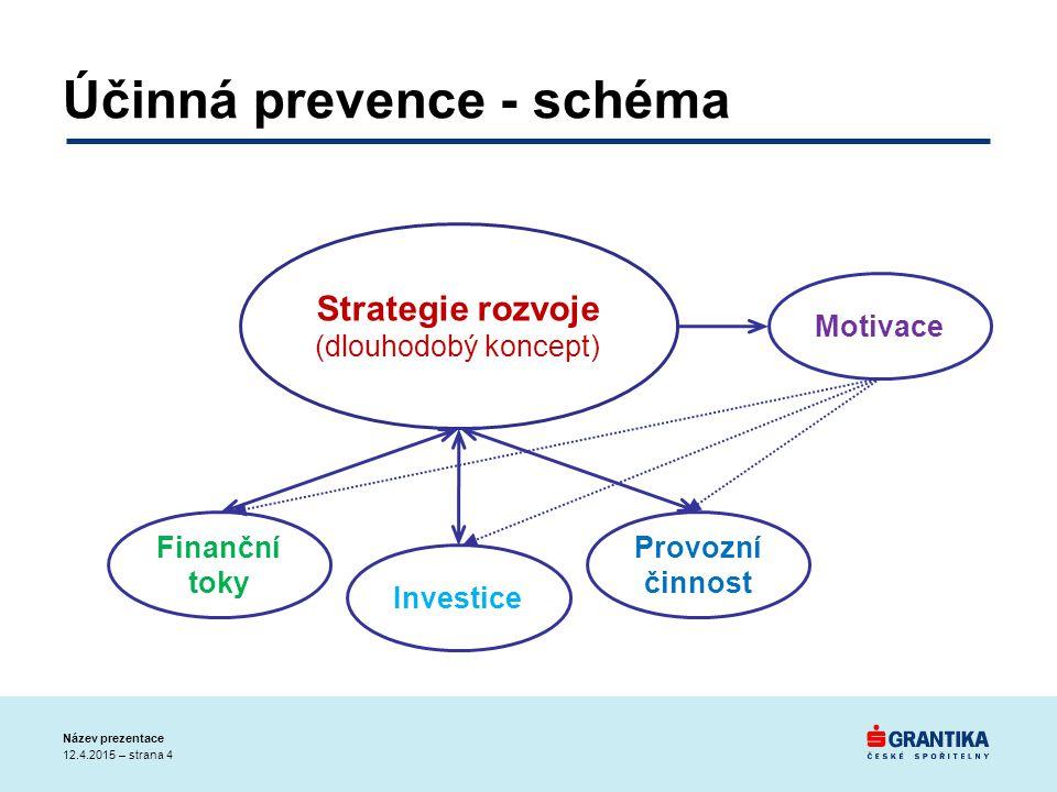 Účinná prevence - schéma 12.4.2015 – strana 4 Název prezentace Strategie rozvoje (dlouhodobý koncept) Finanční toky Investice Provozní činnost Motivace