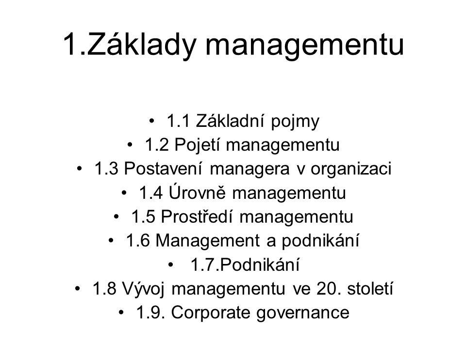 1.Základy managementu 1.1 Základní pojmy 1.2 Pojetí managementu 1.3 Postavení managera v organizaci 1.4 Úrovně managementu 1.5 Prostředí managementu 1
