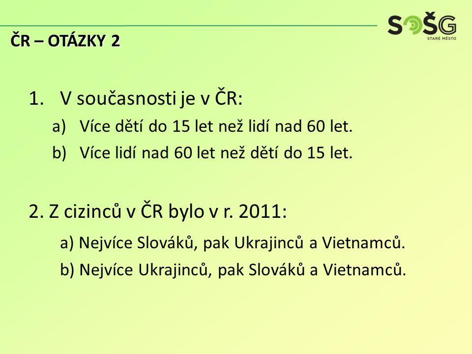 1.V současnosti je v ČR: a)Více dětí do 15 let než lidí nad 60 let.