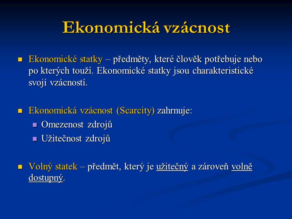 Ekonomická vzácnost Ekonomické statky – předměty, které člověk potřebuje nebo po kterých touží. Ekonomické statky jsou charakteristické svojí vzácnost