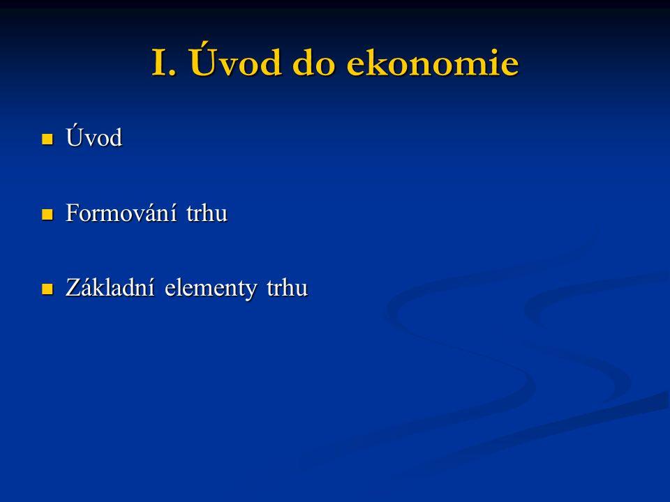 I. Úvod do ekonomie Úvod Úvod Formování trhu Formování trhu Základní elementy trhu Základní elementy trhu