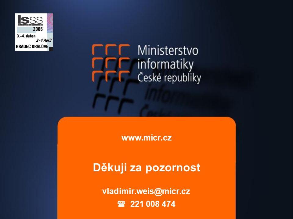 www.micr.cz Děkuji za pozornost vladimir.weis@micr.cz  221 008 474