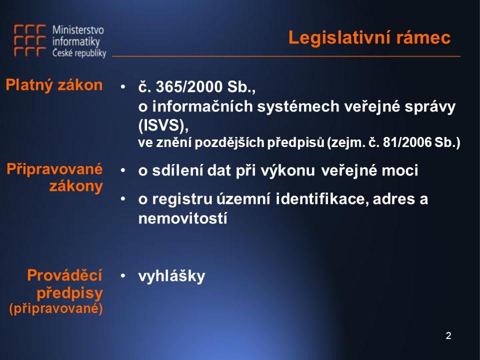 3 Zákon o ISVS Zákon č.365/2000 Sb.