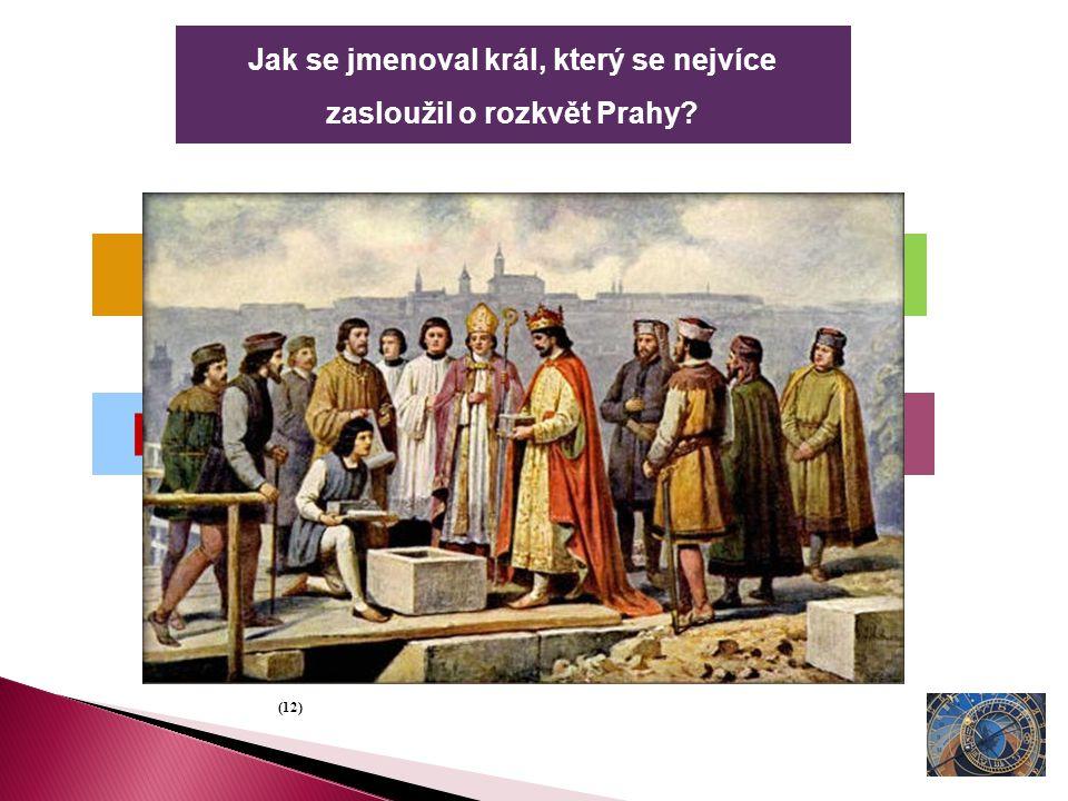 Jak se jmenoval král, který se nejvíce zasloužil o rozkvět Prahy? Karel IV. Matěj I. Petr Veliký Přemysl (12)