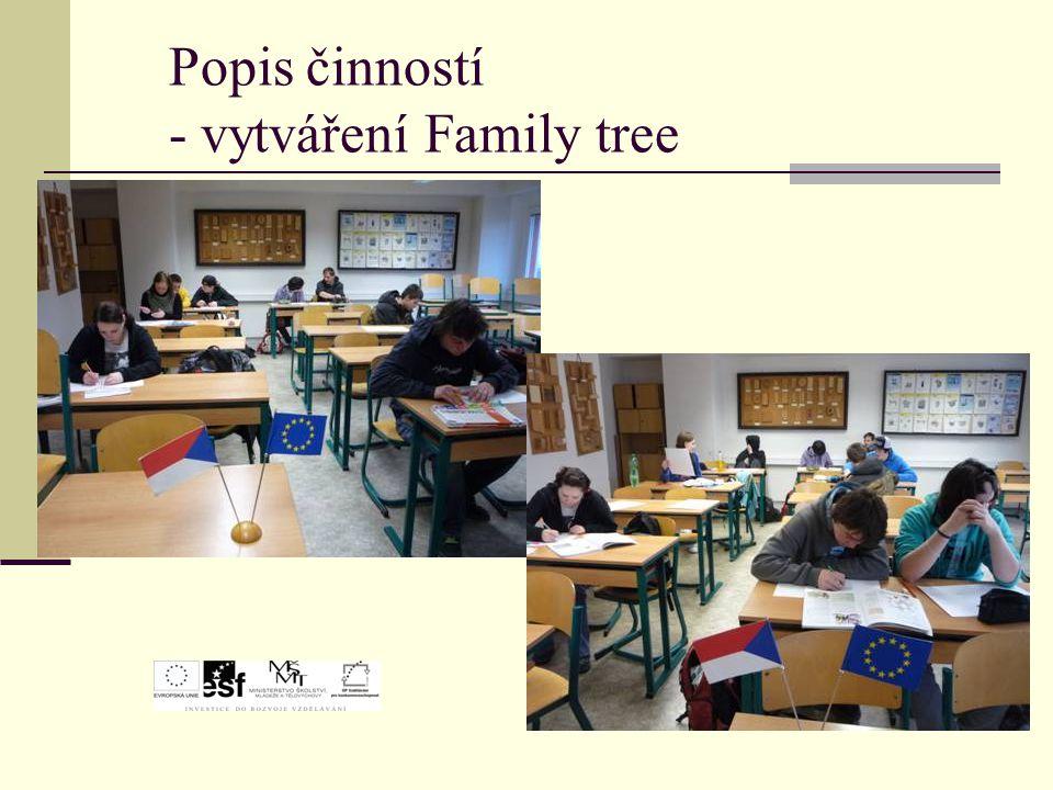Popis činností - vytváření Family tree