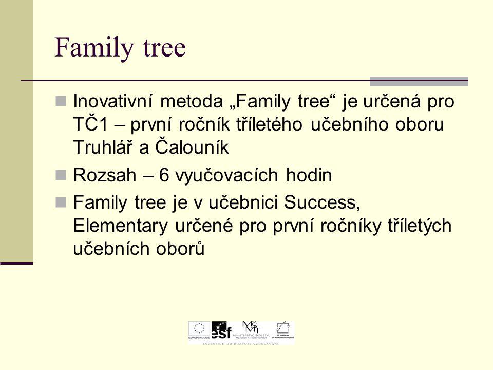 """Family tree Inovativní metoda """"Family tree"""" je určená pro TČ1 – první ročník tříletého učebního oboru Truhlář a Čalouník Rozsah – 6 vyučovacích hodin"""