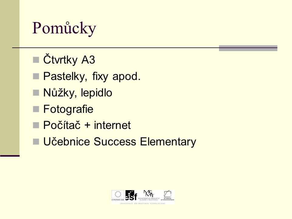 Pomůcky Čtvrtky A3 Pastelky, fixy apod. Nůžky, lepidlo Fotografie Počítač + internet Učebnice Success Elementary