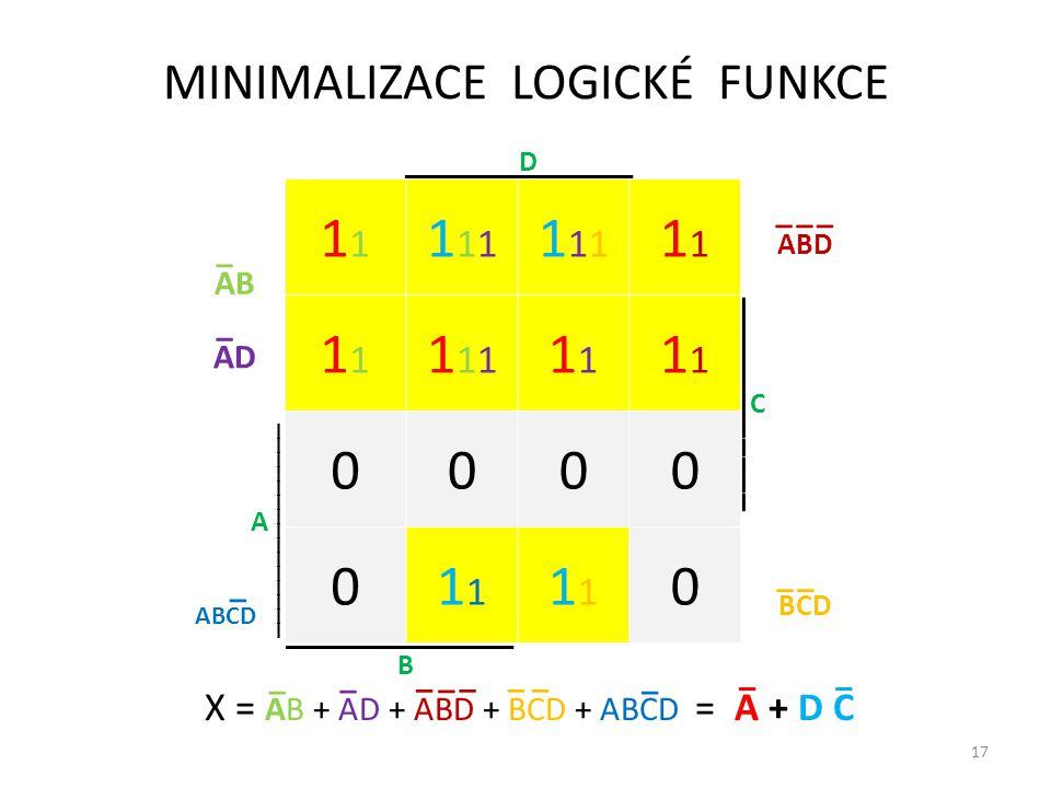 17 B 1 111111 1111111 1 11111111 0000 011 0 A ________________ _______________ ____________ C ________________ D MINIMALIZACE LOGICKÉ FUNKCE X = AB +