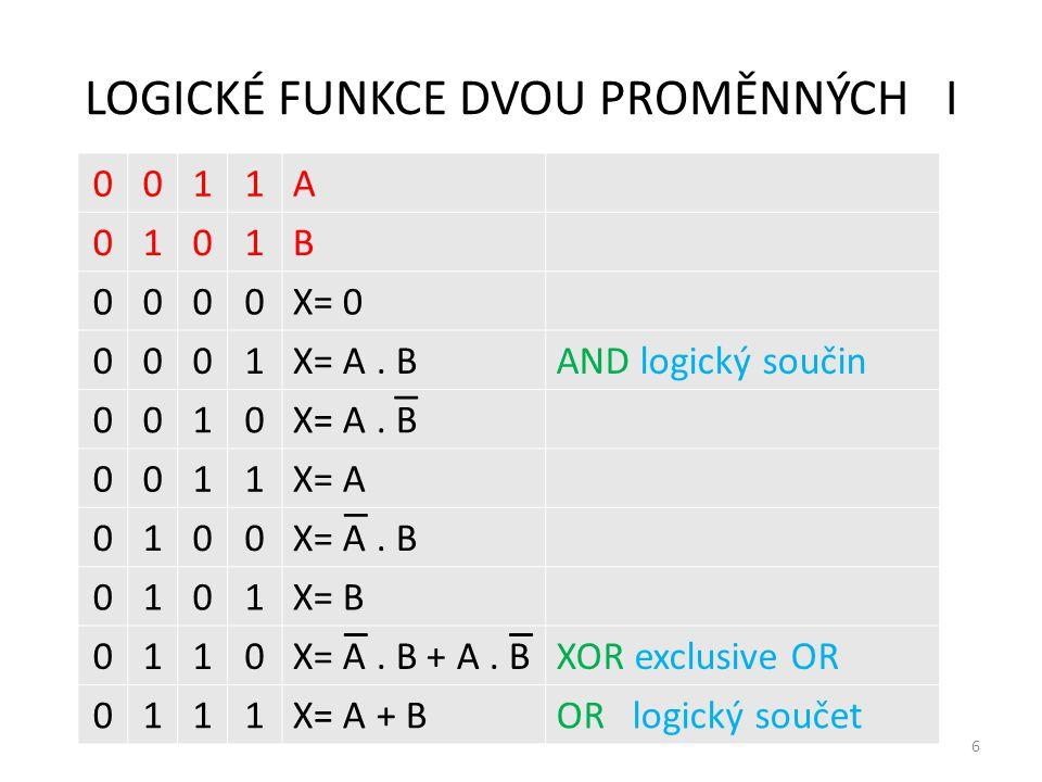LOGICKÉ FUNKCE DVOU PROMĚNNÝCH I 6 0011A 0101B 0000X= 0 0001X= A. BAND logický součin 0010X= A. B 0011X= A 0100X= A. B 0101X= B 0110X= A. B + A. BXOR