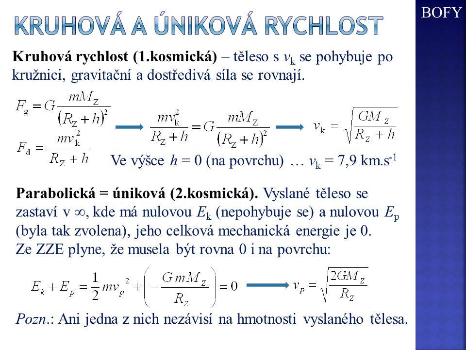 Kruhová rychlost (1.kosmická) – těleso s v k se pohybuje po kružnici, gravitační a dostředivá síla se rovnají. Ve výšce h = 0 (na povrchu) … v k = 7,9