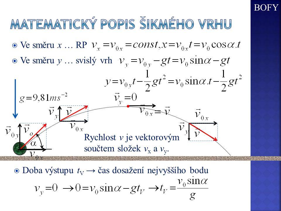  Ve směru x … RP  Ve směru y … svislý vrh  Doba výstupu t V → čas dosažení nejvyššího bodu Rychlost v je vektorovým součtem složek v x a v y. BOFY