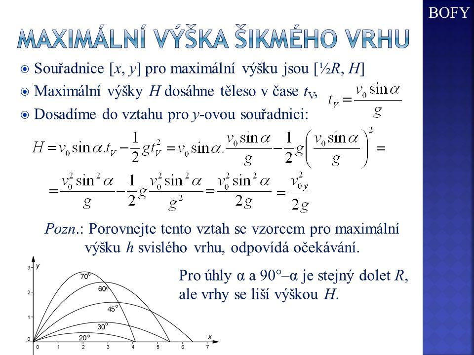  Souřadnice [x, y] pro maximální výšku jsou [½R, H]  Maximální výšky H dosáhne těleso v čase t V,  Dosadíme do vztahu pro y-ovou souřadnici: Pozn.: