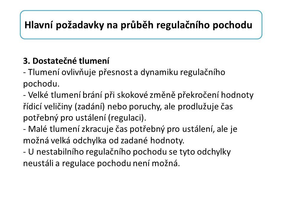 3. Dostatečné tlumení - Tlumení ovlivňuje přesnost a dynamiku regulačního pochodu.