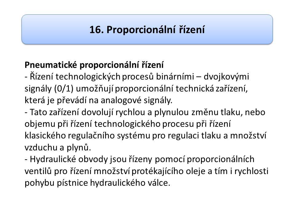 Pneumatické proporcionální řízení - Řízení technologických procesů binárními – dvojkovými signály (0/1) umožňují proporcionální technická zařízení, která je převádí na analogové signály.