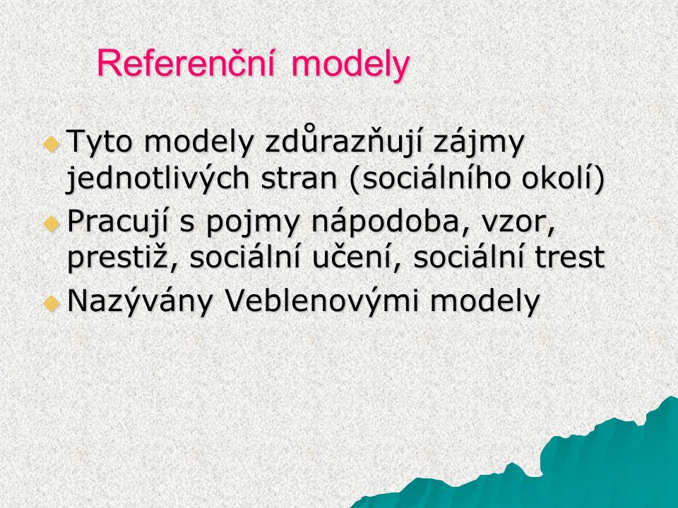 Referenční modely  Tyto modely zdůrazňují zájmy jednotlivých stran (sociálního okolí)  Pracují s pojmy nápodoba, vzor, prestiž, sociální učení, sociální trest  Nazývány Veblenovými modely