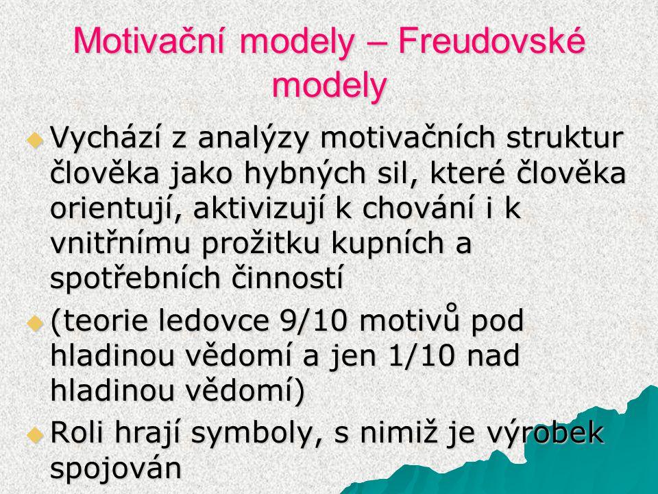 Motivační modely – Freudovské modely  Vychází z analýzy motivačních struktur člověka jako hybných sil, které člověka orientují, aktivizují k chování i k vnitřnímu prožitku kupních a spotřebních činností  (teorie ledovce 9/10 motivů pod hladinou vědomí a jen 1/10 nad hladinou vědomí)  Roli hrají symboly, s nimiž je výrobek spojován