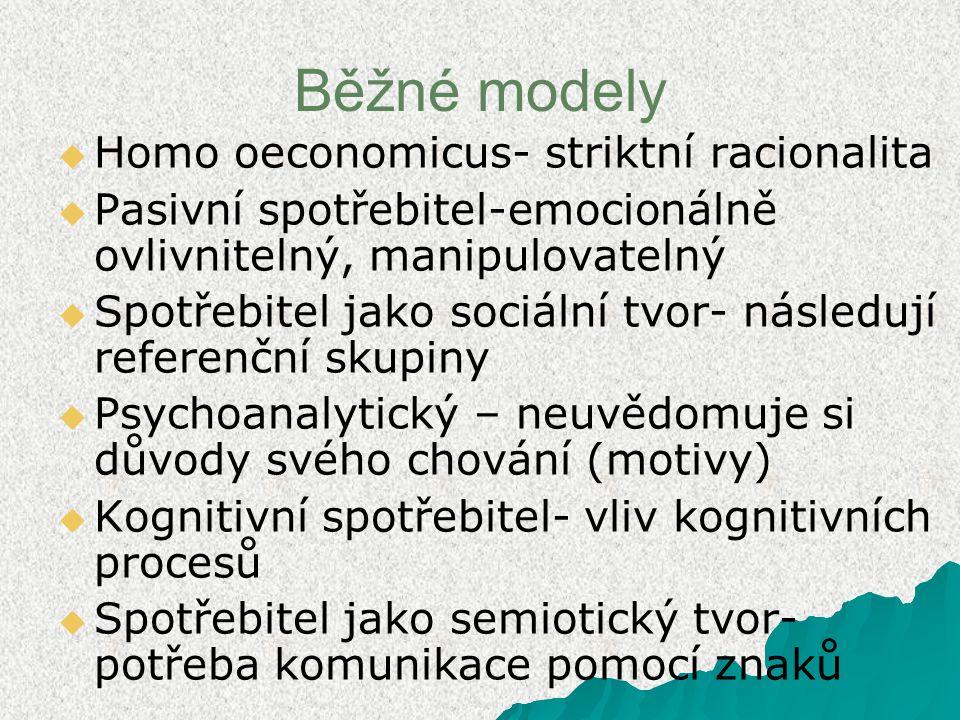 Běžné modely   Homo oeconomicus- striktní racionalita   Pasivní spotřebitel-emocionálně ovlivnitelný, manipulovatelný   Spotřebitel jako sociální tvor- následují referenční skupiny   Psychoanalytický – neuvědomuje si důvody svého chování (motivy)   Kognitivní spotřebitel- vliv kognitivních procesů   Spotřebitel jako semiotický tvor- potřeba komunikace pomocí znaků