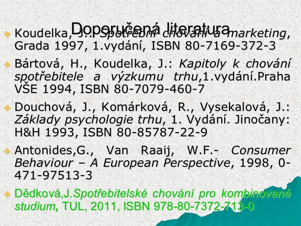 Doporučená literatura  Koudelka, J.: Spotřební chování a marketing, Grada 1997, 1.vydání, ISBN 80-7169-372-3  Bártová, H., Koudelka, J.: Kapitoly k chování spotřebitele a výzkumu trhu,1.vydání.Praha VŠE 1994, ISBN 80-7079-460-7  Douchová, J., Komárková, R., Vysekalová, J.: Základy psychologie trhu, 1.