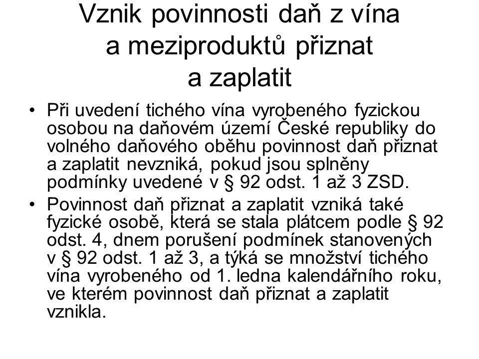 Vznik povinnosti daň z vína a meziproduktů přiznat a zaplatit Při uvedení tichého vína vyrobeného fyzickou osobou na daňovém území České republiky do