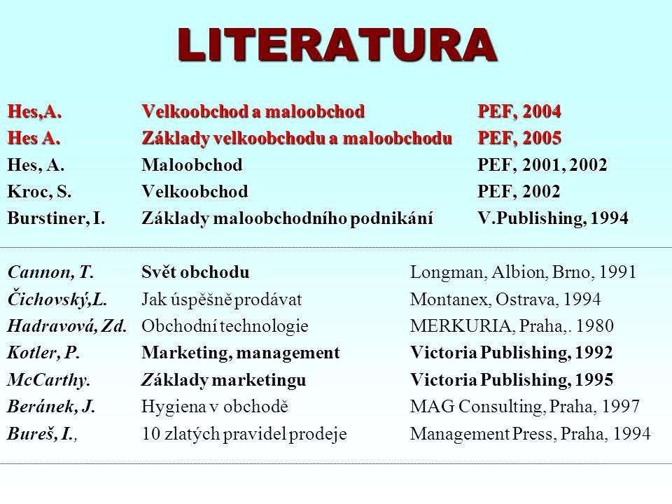 LITERATURA Hes,A. Velkoobchod a maloobchod PEF, 2004 Hes A.Základy velkoobchodu a maloobchoduPEF, 2005 Hes, A.Maloobchod PEF, 2001, 2002 Kroc, S.Velko