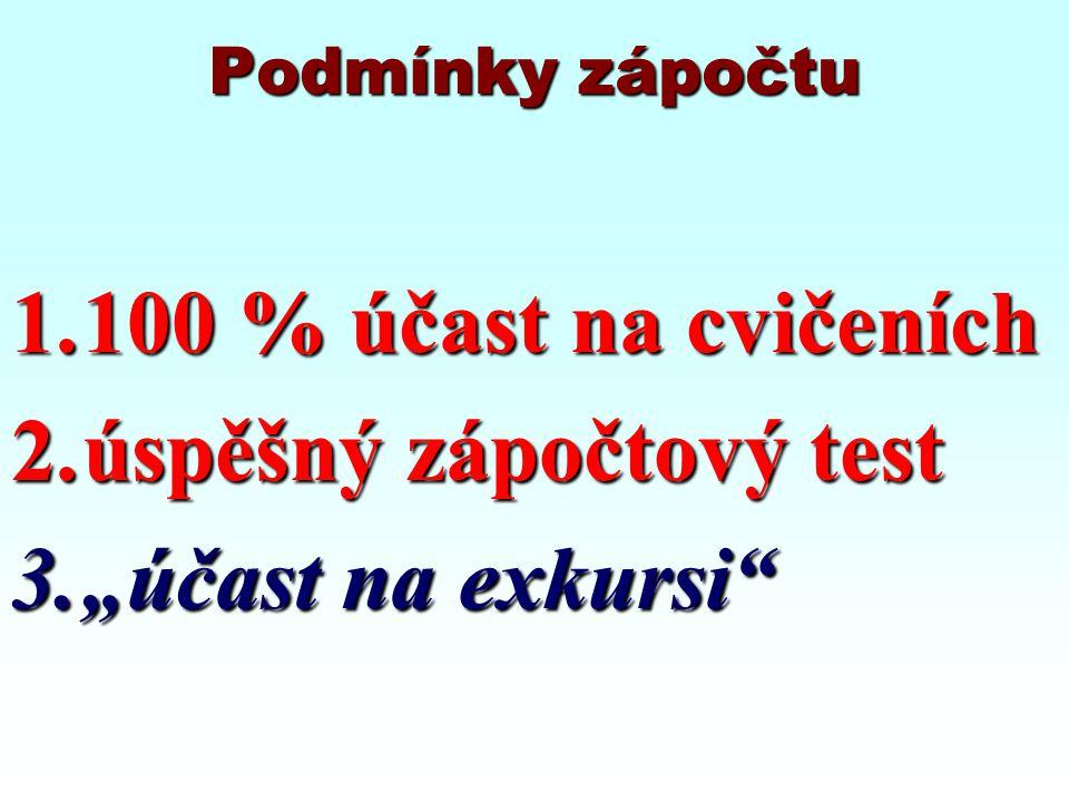 """Podmínky zápočtu 1.100 % účast na cvičeních 2.úspěšný zápočtový test 3.""""účast na exkursi"""""""