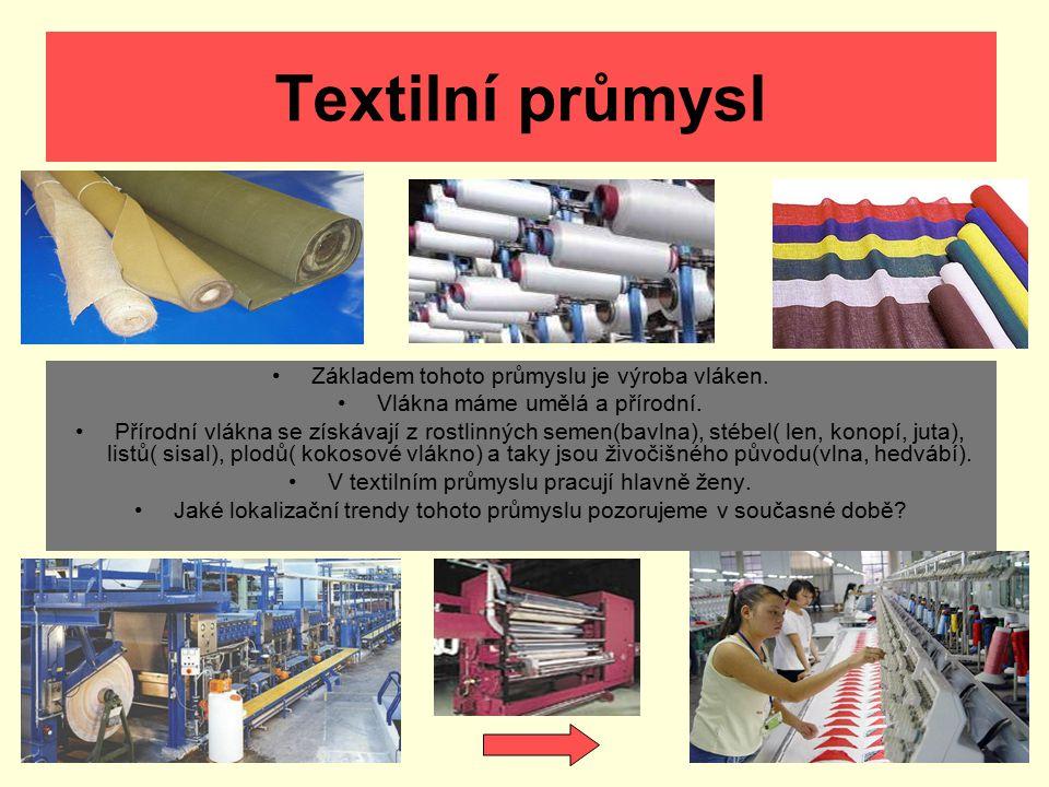 Textilní průmysl Základem tohoto průmyslu je výroba vláken. Vlákna máme umělá a přírodní. Přírodní vlákna se získávají z rostlinných semen(bavlna), st