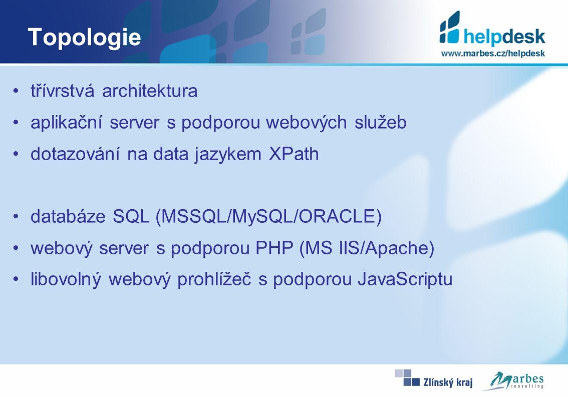 Topologie třívrstvá architektura aplikační server s podporou webových služeb dotazování na data jazykem XPath databáze SQL (MSSQL/MySQL/ORACLE) webový server s podporou PHP (MS IIS/Apache) libovolný webový prohlížeč s podporou JavaScriptu
