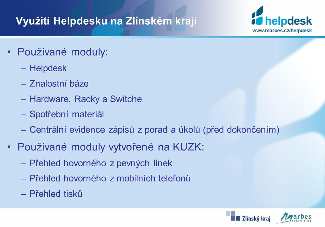 Využití Helpdesku na Zlínském kraji Používané moduly: –Helpdesk –Znalostní báze –Hardware, Racky a Switche –Spotřební materiál –Centrální evidence záp