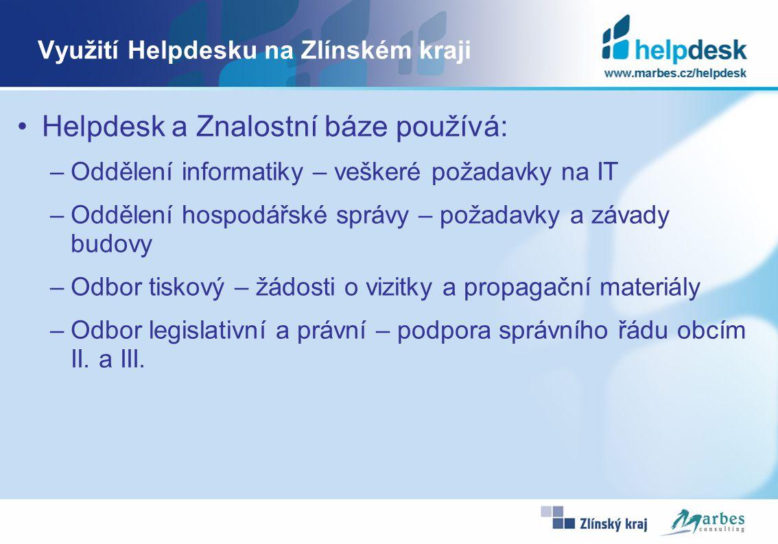 Využití Helpdesku na Zlínském kraji Helpdesk a Znalostní báze používá: –Oddělení informatiky – veškeré požadavky na IT –Oddělení hospodářské správy –