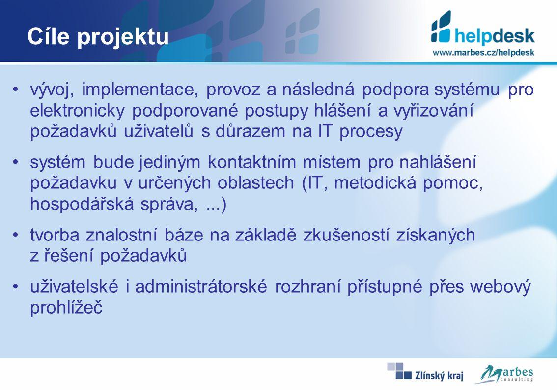 Cíle projektu vývoj, implementace, provoz a následná podpora systému pro elektronicky podporované postupy hlášení a vyřizování požadavků uživatelů s důrazem na IT procesy systém bude jediným kontaktním místem pro nahlášení požadavku v určených oblastech (IT, metodická pomoc, hospodářská správa,...) tvorba znalostní báze na základě zkušeností získaných z řešení požadavků uživatelské i administrátorské rozhraní přístupné přes webový prohlížeč